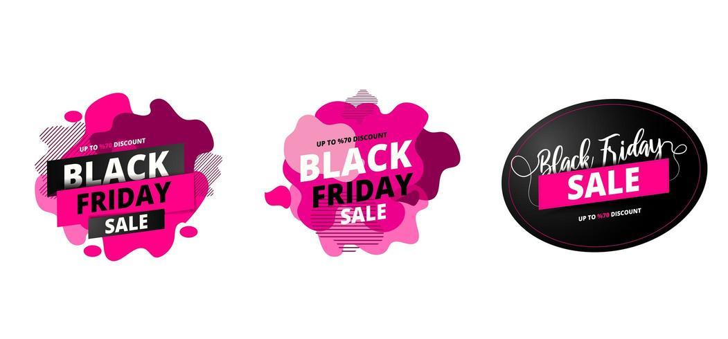 Bis zu 70 Angebote für Black Friday Sale auf abstrakten Flüssigkeitssätzen vektor