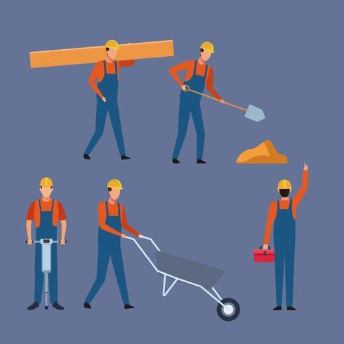 Byggnadsarbetare set vektor