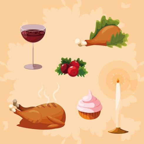 Turkiet Thanksgiving Ikonuppsättning vektor