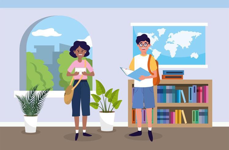 Mädchen und Junge mit Bildungsbuch im Klassenzimmer vektor