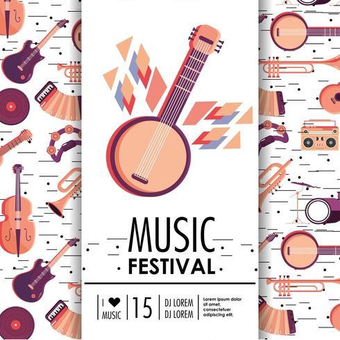 banjo och instrument till musikfestivalevenemang vektor