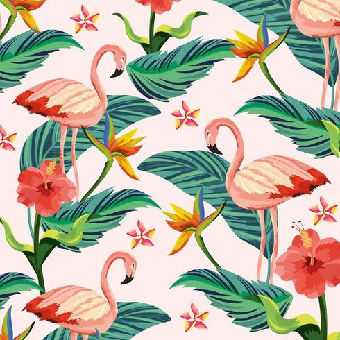 tropiska flamingo med blommor och blad vektor