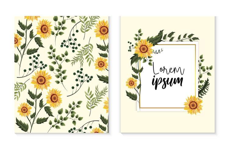 Set-Karte mit exotischen Sonnenblumen und Zweigen verlässt vektor