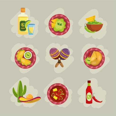 Set traditionelles mexikanisches Essen mit Saucen und Avocado vektor