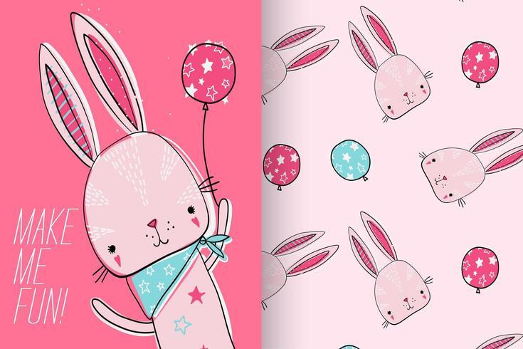 Handritad söt kanin med mönsteruppsättning vektor