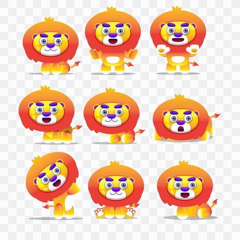 Tecknad lejon med olika poser och uttryck. vektor