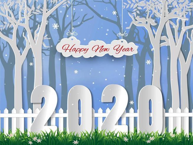 Gott nytt år 2020 med vintersäsongbakgrund vektor