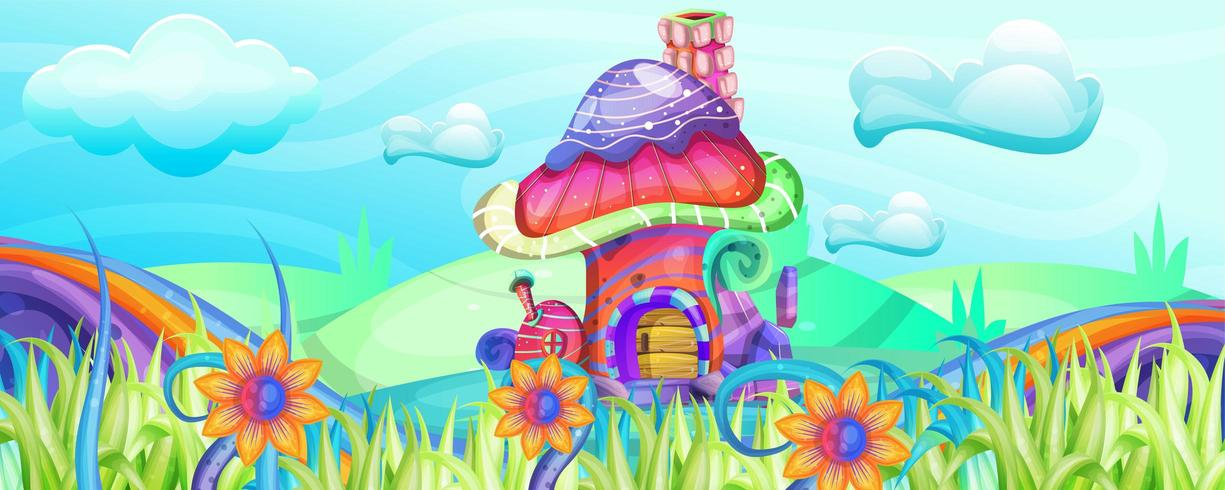 Pilzhäuser in der Gartenillustration vektor