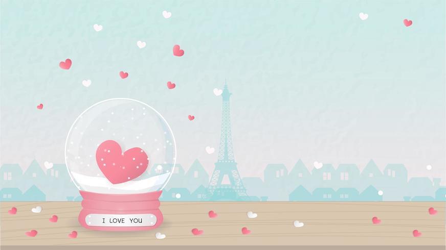 Valentin kort med hjärtsnö jordklot vektor