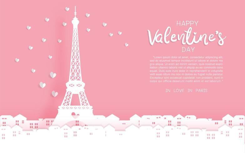 Eiffelturm Valentinstag Gruß vektor