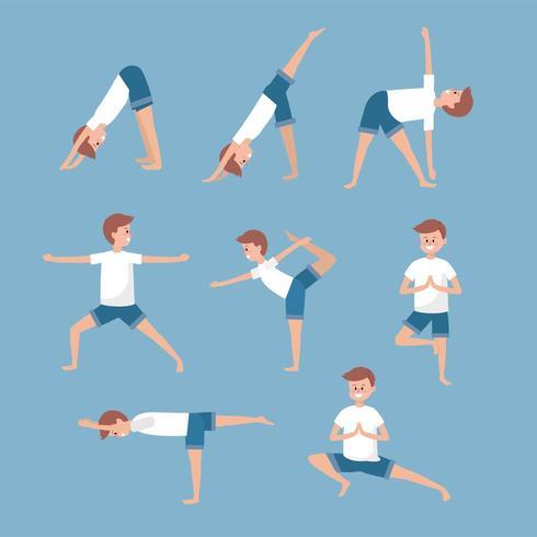 Set Man Training Yoga Übung Gleichgewicht vektor