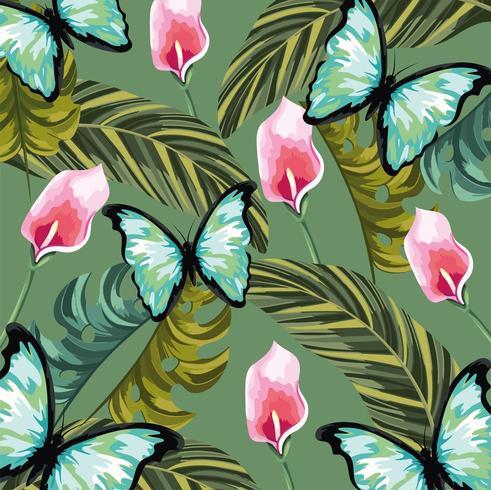 tropiska blommor med fjäril och blad bakgrund vektor