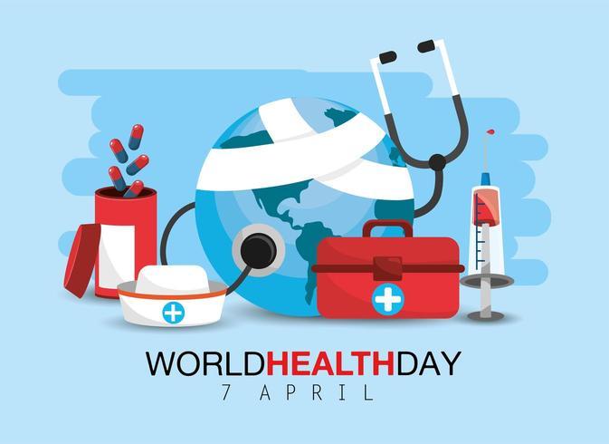Weltgesundheitstag mit medizinischer Behandlung vektor