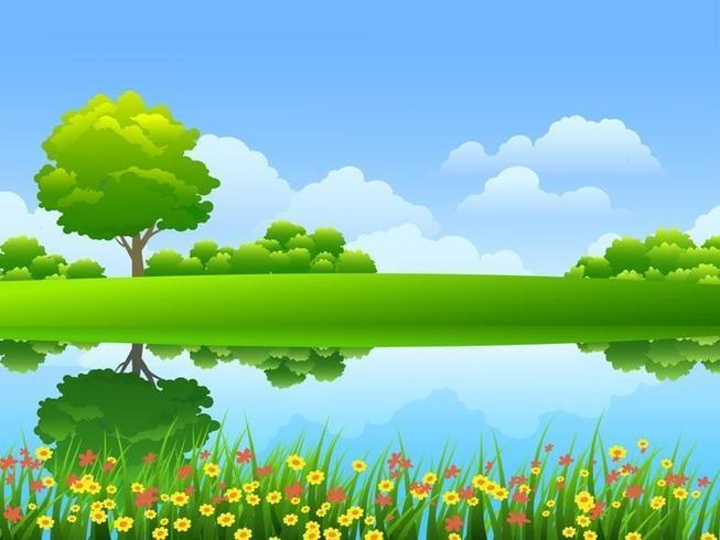 Flod och blommor vektor