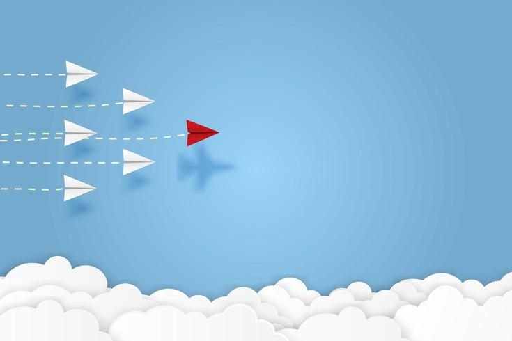 Skugga av jaktplanet under pappersplan som flyger i himlen vektor