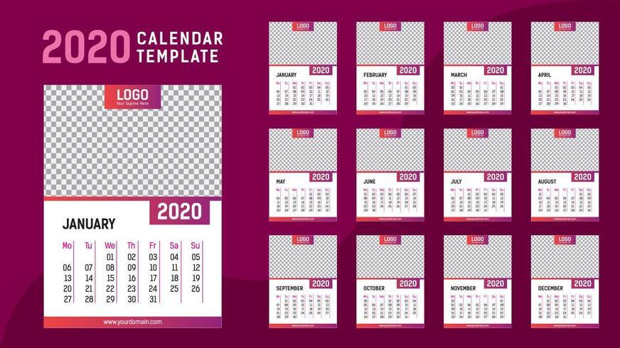 Rosa kalendermall 2020 vektor