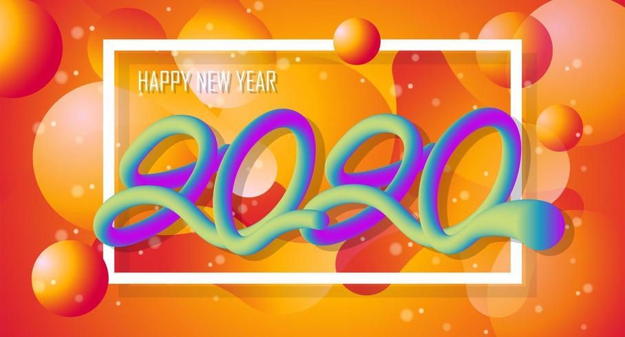 Frohes neues Jahr 2020 bunte Design 3D Liquid Hintergrund vektor