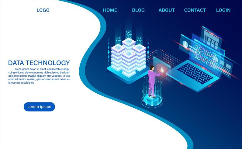 Datacenter-serverrums molnlagringsteknologi vektor