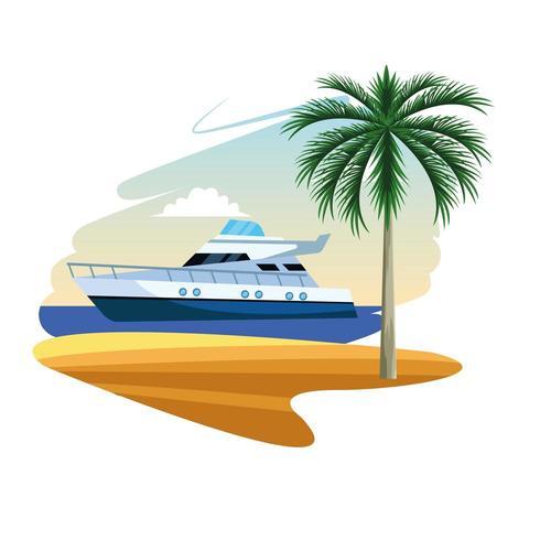 yacht båt tecknad vektor