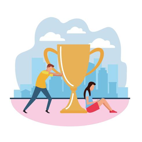 teamwork award cup vektor