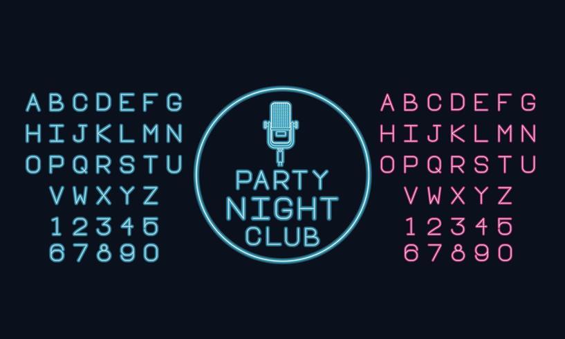 Neonlicht-Alphabet-Schriftart vektor