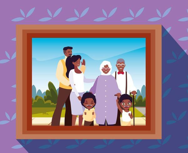 Foto von niedlichen Familienmitgliedern Afro vektor