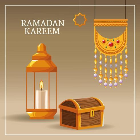 Ramadan Kareem mit islamischen Symbolen vektor