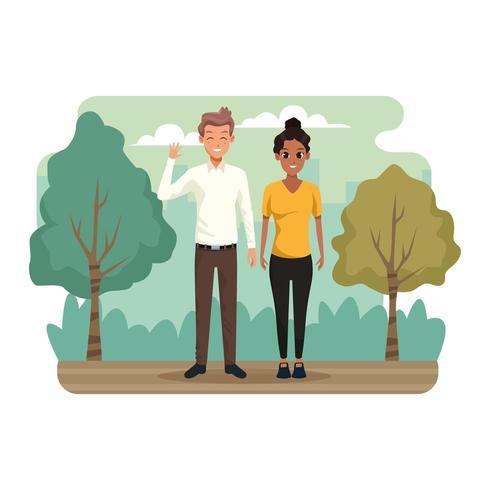 Ungt par i parklandskapet vektor