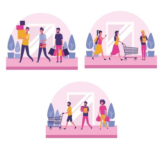 Reihe von Menschen einkaufen vektor