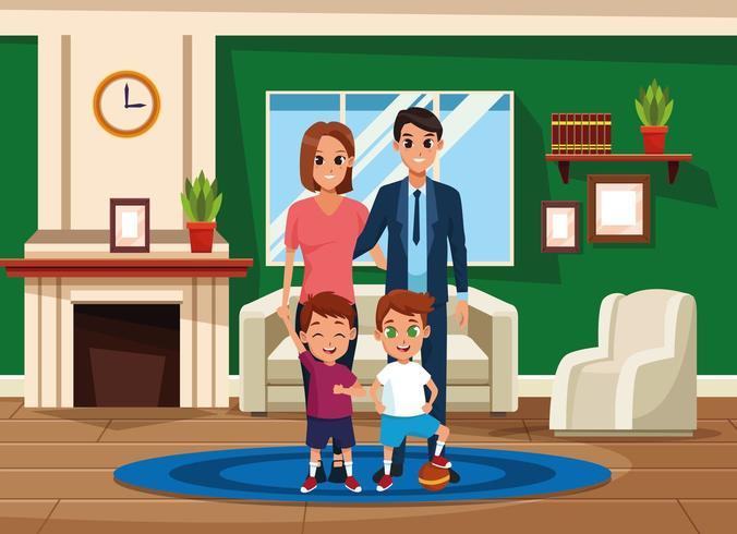 Familieneltern und Kinder Cartoons vektor