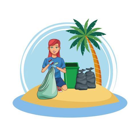 Kvinna volontär rengöring strand vektor