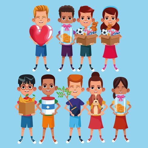 Kinder und Wohltätigkeits-Cartoon-Set vektor