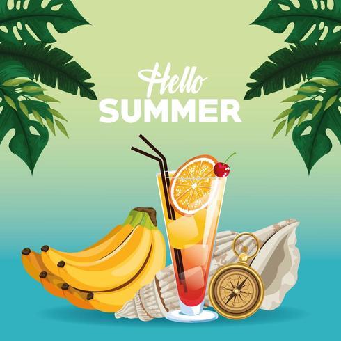 Hej sommar affischkort tecknade filmer vektor