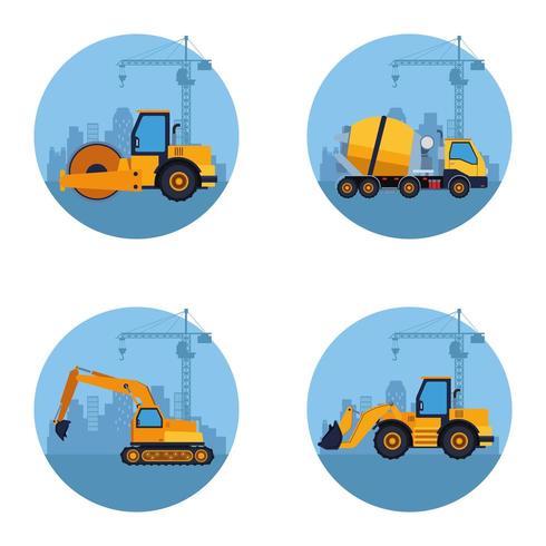 konstruktion fordon tecknad vektor