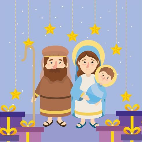 joseh och mary med jesus och stjärnor med presenter vektor