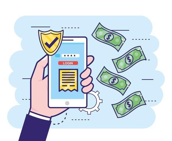 hand med smartphone och säkerhetsbank lösenord vektor