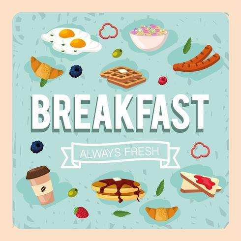 ange hälsosam frukost med proteinmat vektor