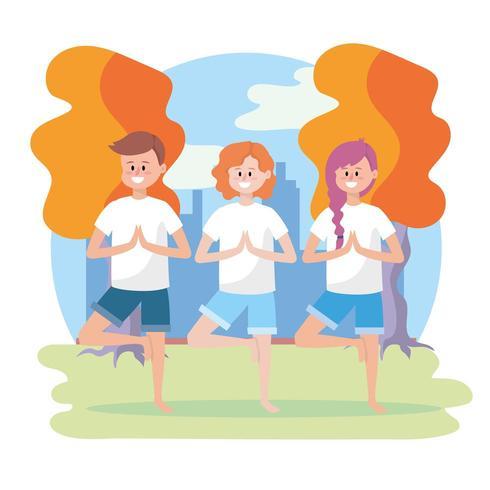 kvinnor och man utövar yogaställning vektor