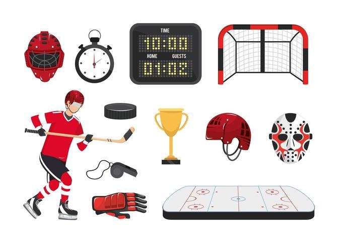 professionelle Hockeyausrüstung und Spieleruniform einstellen vektor