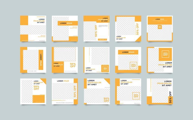 Uppsättning av orange sociala medier postmallar vektor