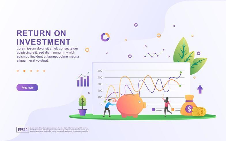 Avkastning på investeringskoncept. vektor