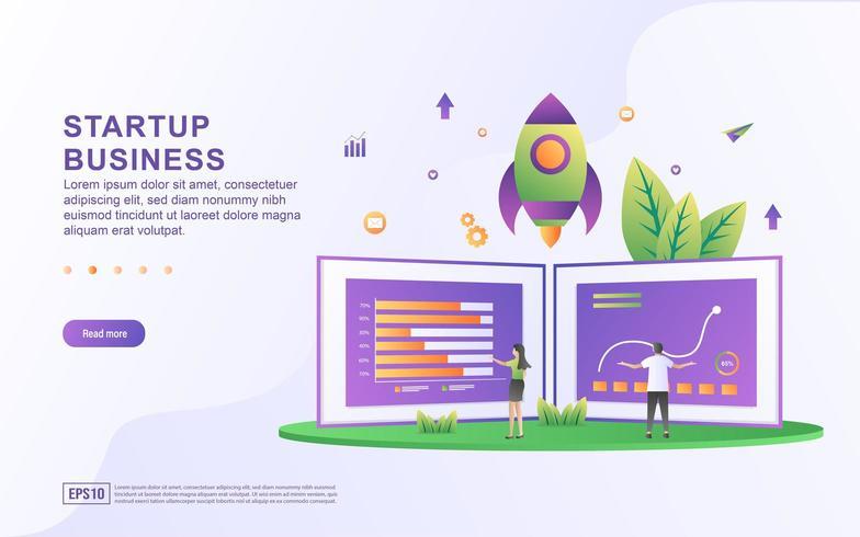 Startup affärsillustration koncept. vektor