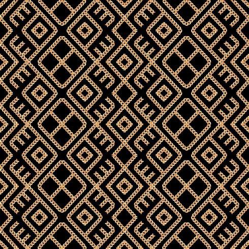 Mönster av geometrisk prydnad i guldkedja vektor