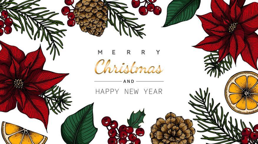 God jul och nyår blomma och blad ritning vektor