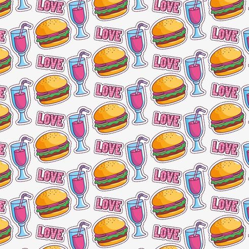 Lecker und Fast-Food-Muster vektor
