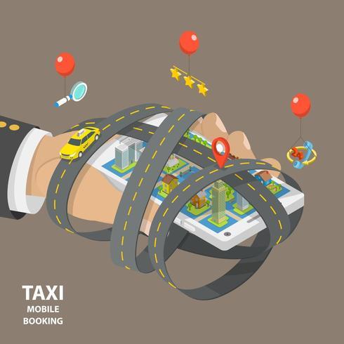 Mobiles Taxi, das flaches isometrisches Konzept bucht vektor
