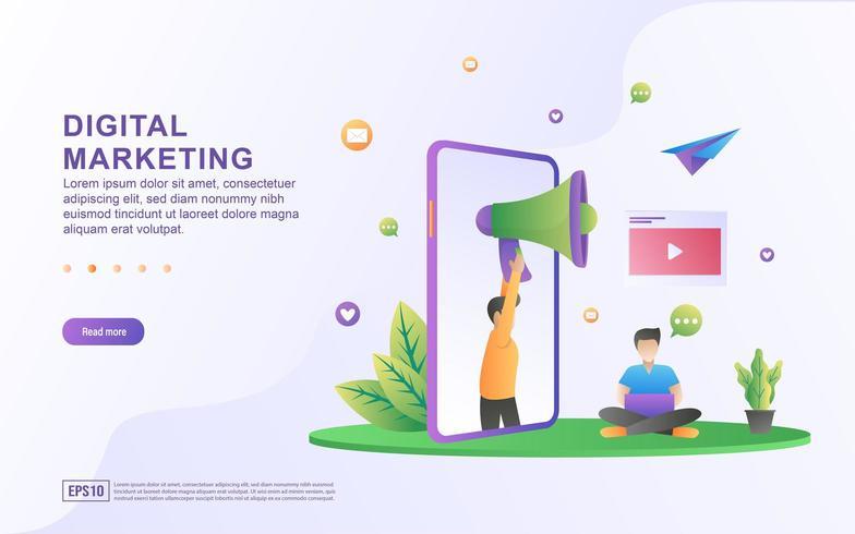 Digital marknadsföringsillustrationbegrepp vektor