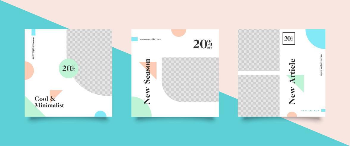 Social Media-Beitragsvorlagen in Pastellfarben vektor