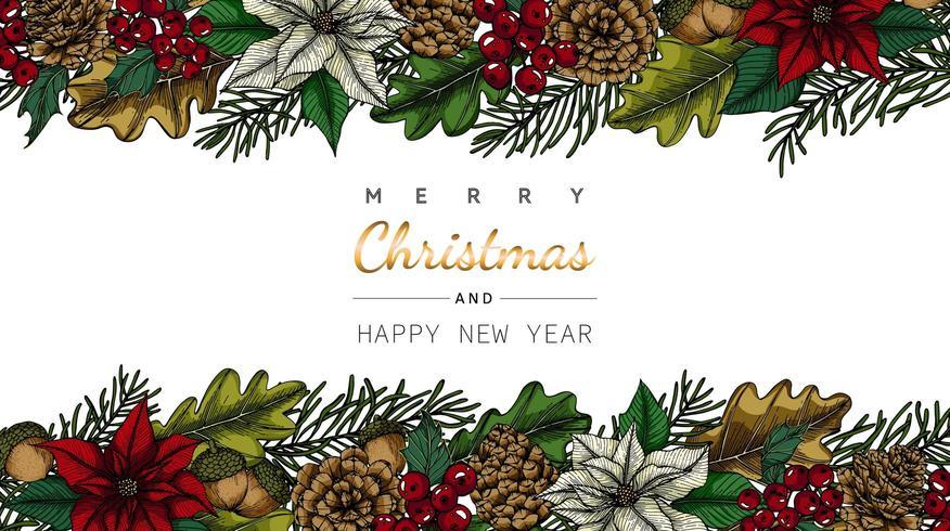 God jul och nyår bakgrunder blomma och blad ram vektor