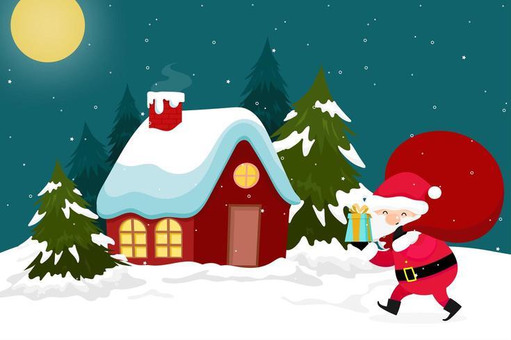 Weihnachtsgrußkarte mit Santa Delivering Presents vektor